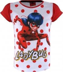 T-shirt Biedronka i Czarny Kot w kropki czerwony