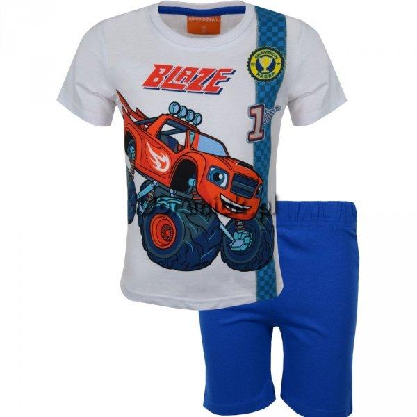 Piżama Blaze i Mega Maszyny biało niebieska