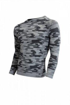 Sesto Senso Thermo Active Military Style dlouhý rukáv světle šedý Pánské sportovní triko
