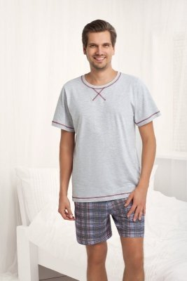 Luna Aaron 754 Šedé Pánské pyžamo