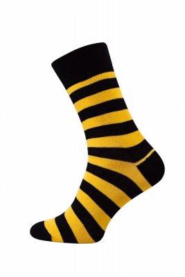 Sesto Senso Finest Cotton pruhy/černo - žluté Ponožky
