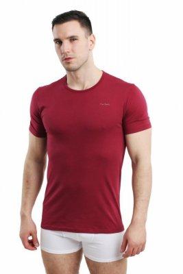 Pierre Cardin Rneck bordový Pánské triko