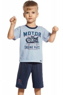 Cornette 801/47 Engine modré proužky Chlapecké pyžamo