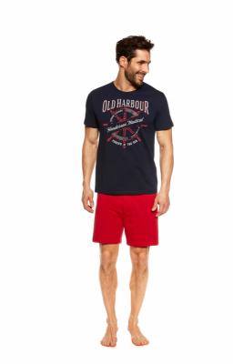 Henderson Just 37120-59X Tmavě modro-červené Pánské pyžamo