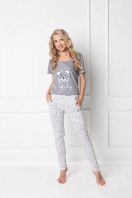 Aruelle Huggy Bear Long Grey Dámské pyžamo