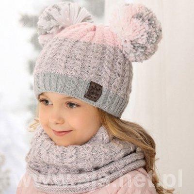 AJS 38-489 dívčí set čepice + komínový šátek