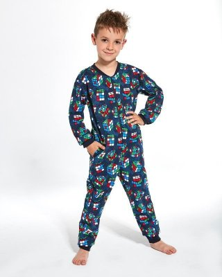Cornette Young Boy 186/108 Cubes 134-164 Overal chlapecké pyžamo