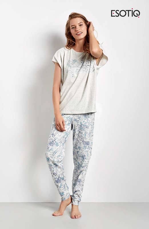 Esotiq Cristal 34546-09X šedo-modré Dámské pyžamo