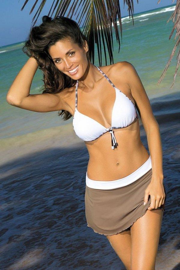 Plážová sukně Marko Meg Cliff-Bianco M-266 Světé hnědá s krémovou