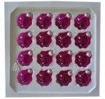 Bombki przezroczyste 3cm 16 szt różowe