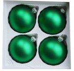 Bombki gładkie 8cm 4szt  zielony mat