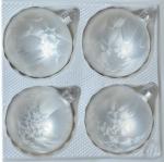 Bombki gładkie 8 cm 4 szt biała mrożonka
