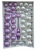 Zestaw dekorowany 39 szt fioletowo-biały