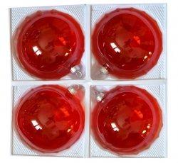 Bombki przezroczyste 12 cm 4 szt czerwone