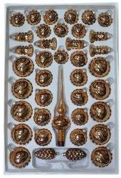 Zestaw 39 szt dekorowany brązowy opal