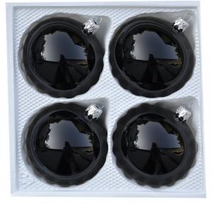 Bombki gładkie 8 cm 4 szt czarna emalia