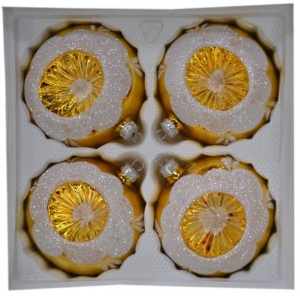 Bombki reflektor 10 cm 4 szt złote