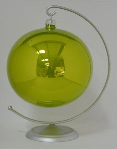 Bombka gładka duża 15 cm zielone jabłuszko opal