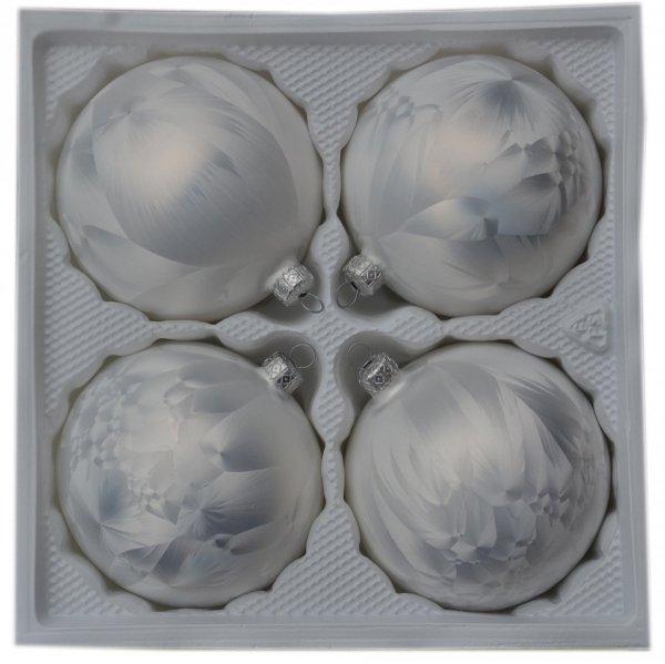 Bombki gładkie 10 cm 4 szt. biała mrożonka