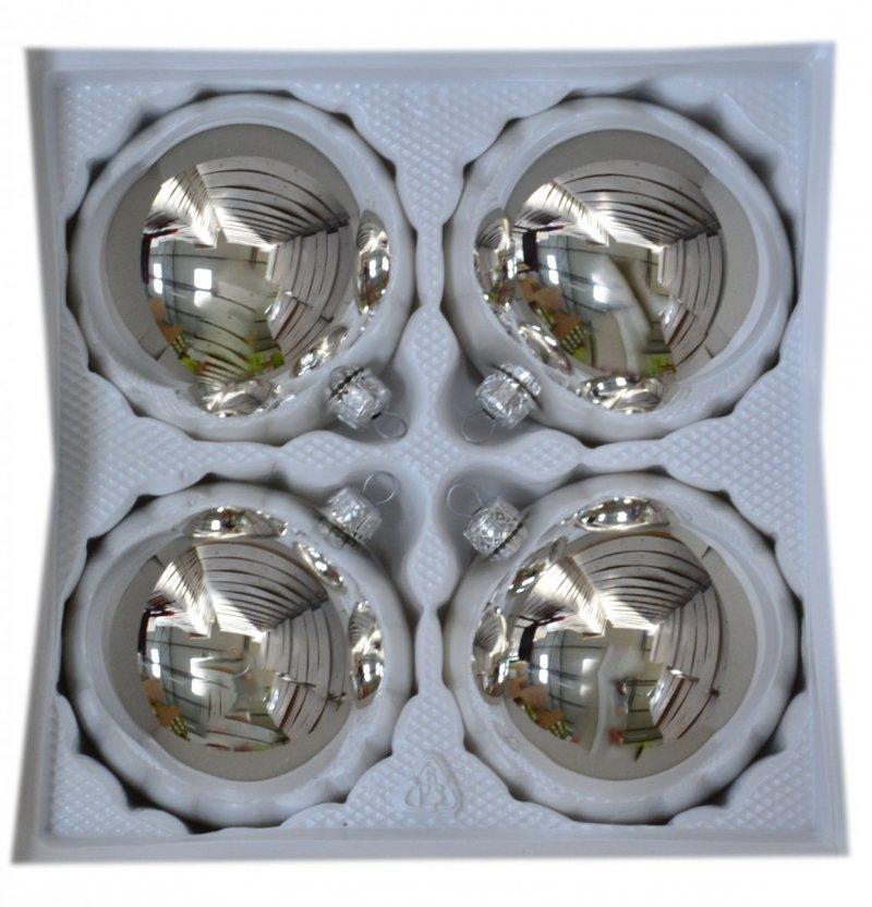 Bombki gładkie 10 cm 4 szt srebrny błysk