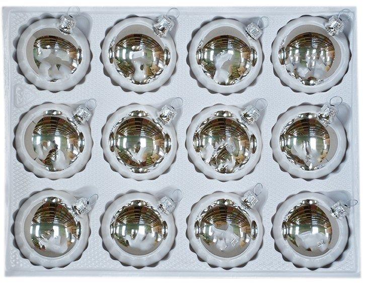 Bombki gładkie 6cm 12 szt srebrny błysk