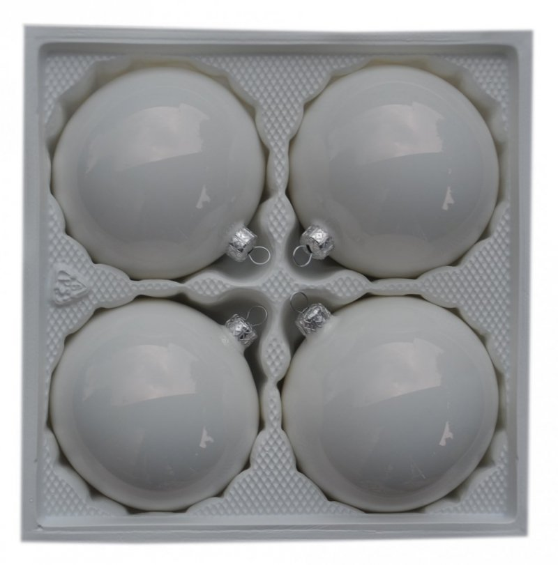 Bombki gładkie 10 cm 4 szt. biała emalia