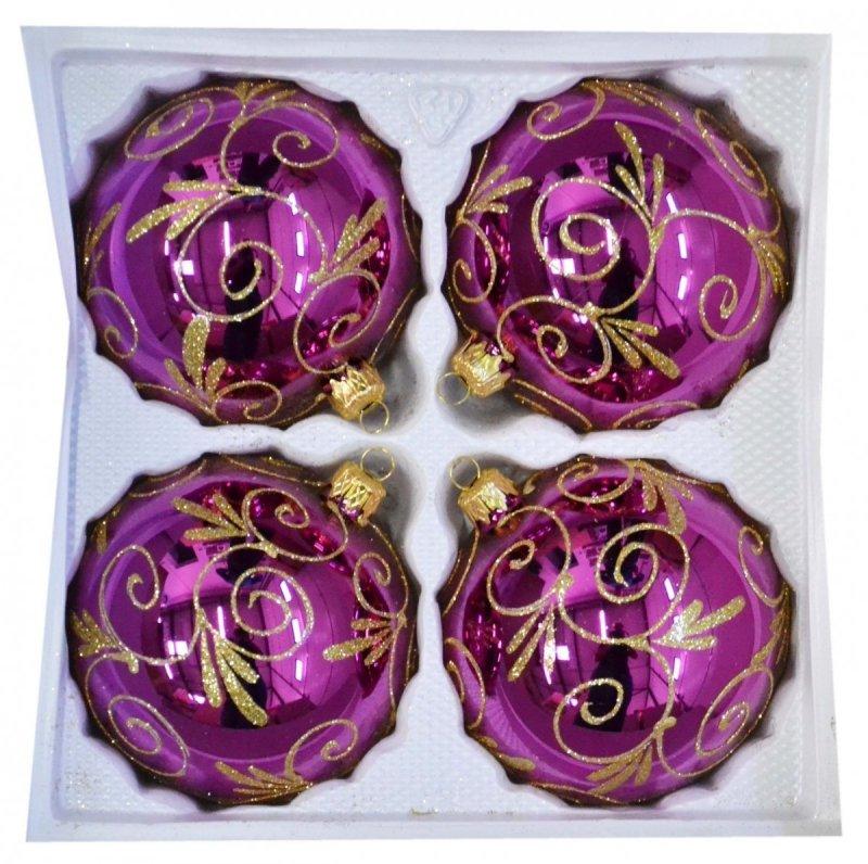 Bombki dekorowane 10 cm 4 szt róż błysk
