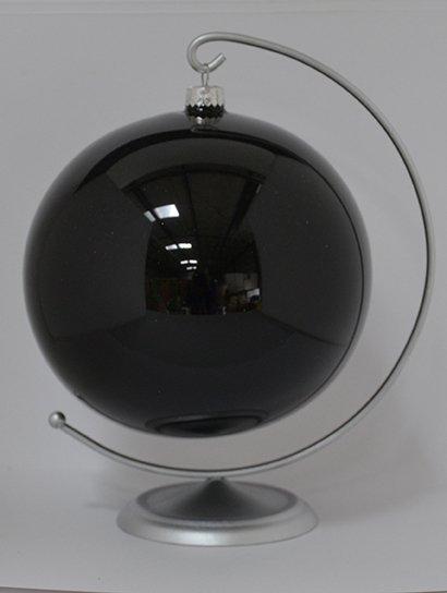 Bombka gładka duża 15 cm czarna emalia