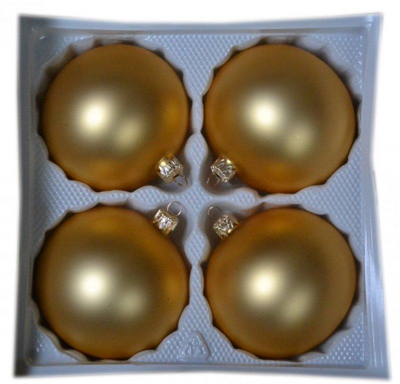 Bombki gładkie 10 cm 4 szt. złoty mat