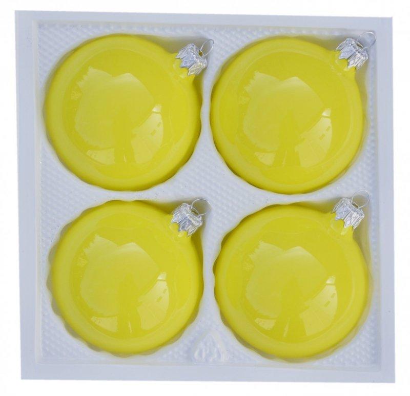 Bombki gładkie 8cm 4szt  żółta porcelana
