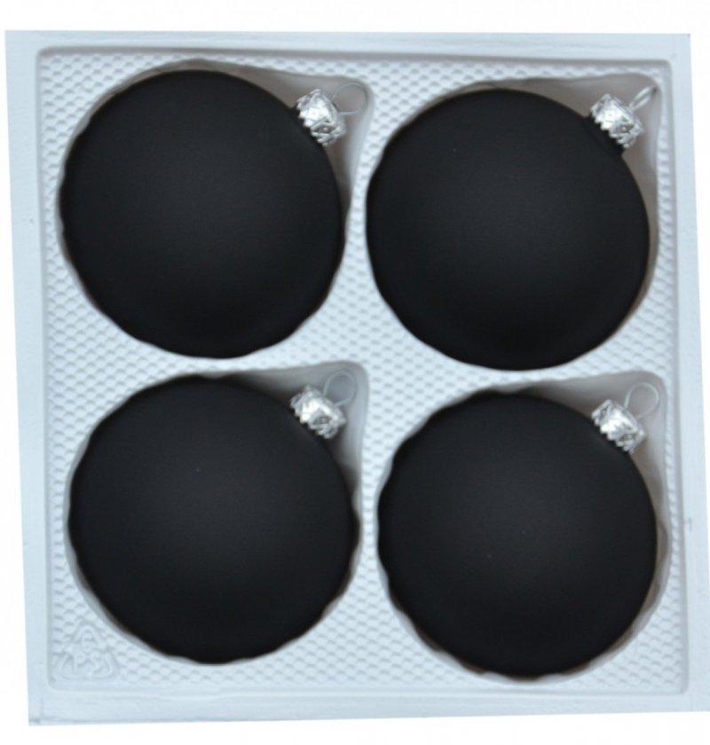 Bombki gładkie 8cm 4szt  czarny velvet