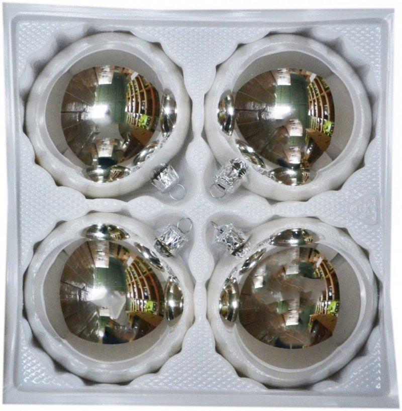 Bombki gładkie 8 cm 4 szt srebrny błysk