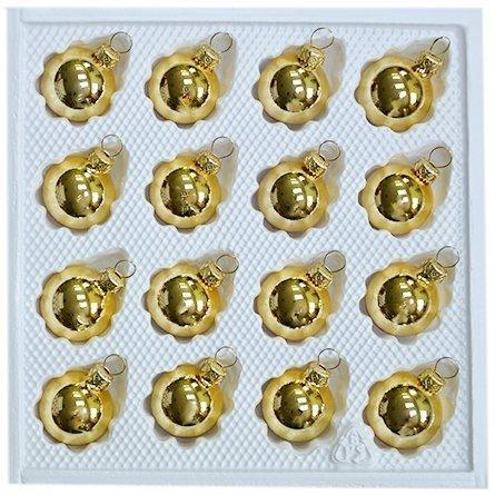 Bombki gładkie 3 cm 16 szt złoty błysk