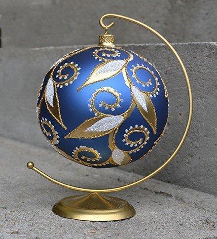Bombka dekorowana duża 15 cm  niebiesko-złota