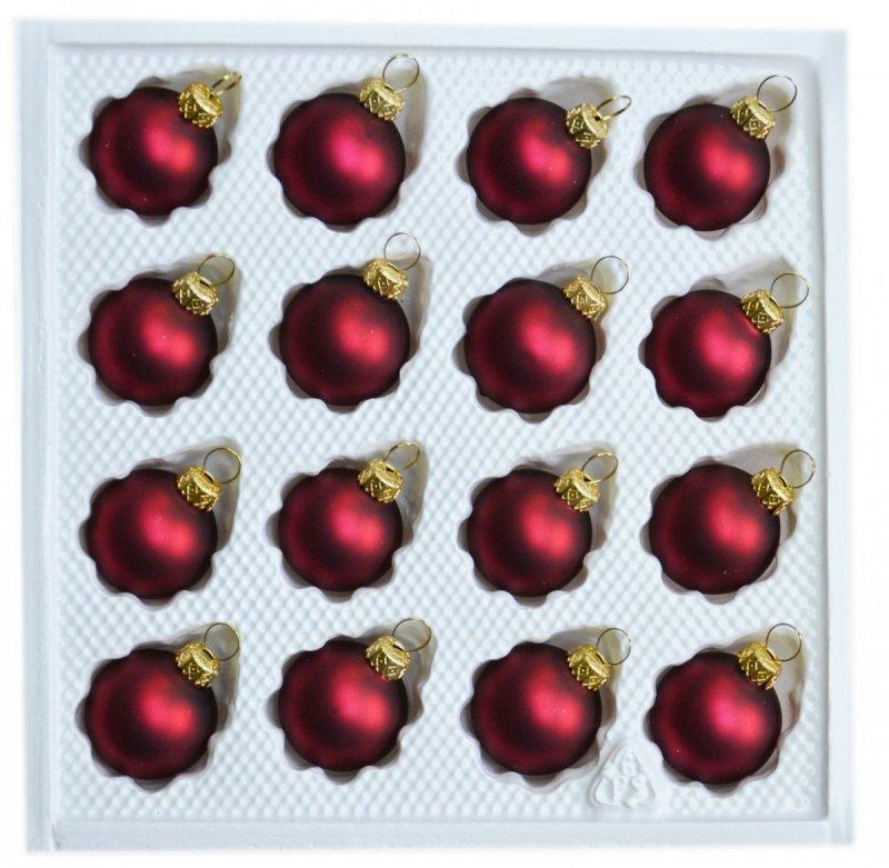 Bombki gładkie 3 cm 16 szt bordo mat