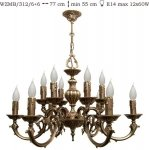 Żyrandol mosiężny JBT Stylowe Lampy WZMB/312/6+6
