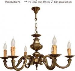 Żyrandol mosiężny JBT Stylowe Lampy WZMB/292/6
