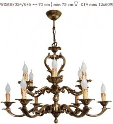 Żyrandol mosiężny JBT Stylowe Lampy WZMB/324/6+6