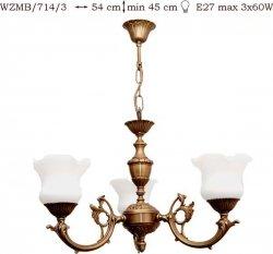 Żyrandol mosiężny JBT Stylowe Lampy WZMB/714/3