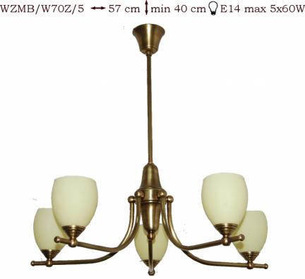 Żyrandol mosiężny JBT Stylowe Lampy WZMB/W70Z/5