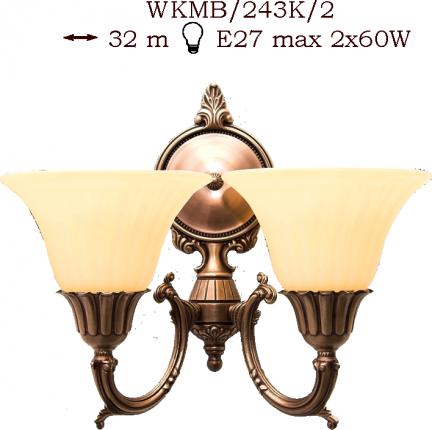 Kinkiet mosiężny JBT Stylowe Lampy WKMB/243K/2