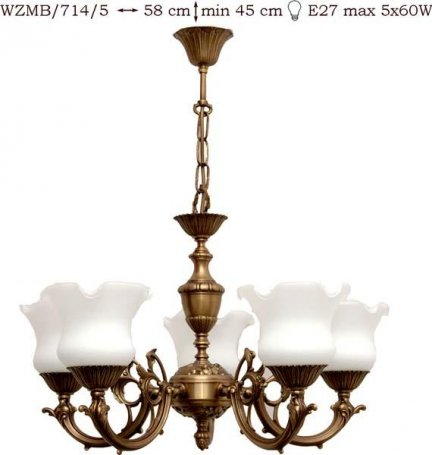 Żyrandol mosiężny JBT Stylowe Lampy WZMB/714/5