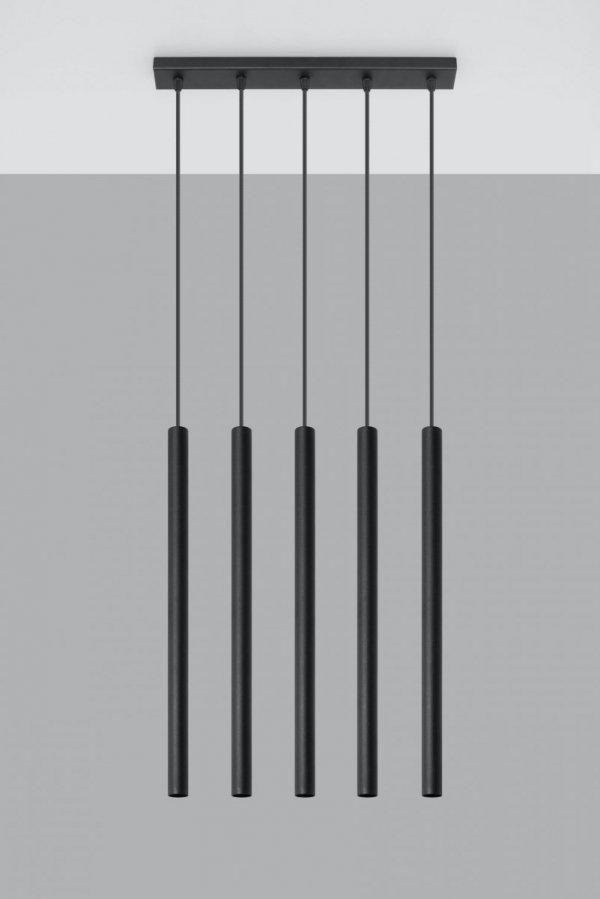 Lampa wisząca PASTELO 5 czarna SL.0472 Sollux