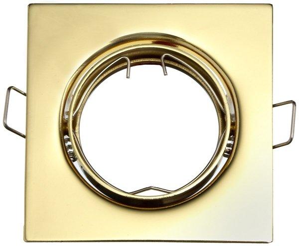 Oprawa halogenowa sufitowa ONYKS kwadrat ruchoma BS Złoty LUX01820