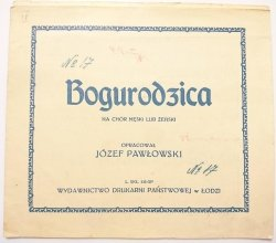 BOGURODZICA NA CHÓR MĘSKI LUB ŻEŃSKI - Józef Pawłowski