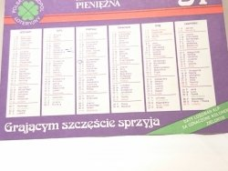 KRAJOWA LOTERIA PIENIĘŻNA. KALENDARZYK '91