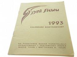 DNI SIEWU 1993 KALENDARZ BIODYNAMICZNY