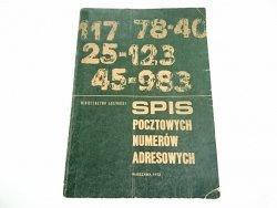 SPIS POCZTOWYCH NUMERÓW ADRESOWYCH 1973