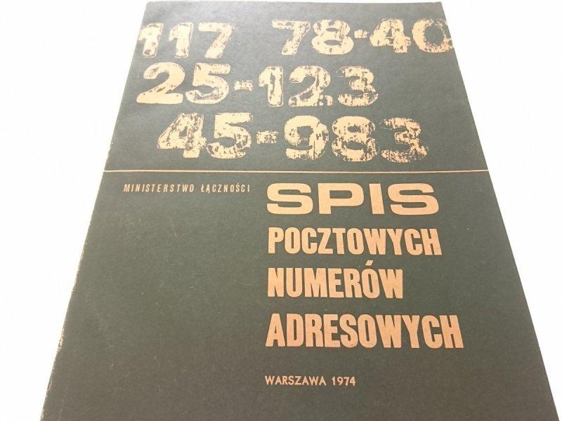 SPIS POCZTOWYCH NUMERÓW ADRESOWYCH 1974 !!!