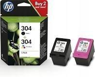 N9K08AE HP 304XL oryginalny tusz czarny zwiększonej wydajności do HP Deskjet 2620 2630 3720 3730. Pojemność 5,5 ml. Wydajność 300 stron zgodnie z normą ISO/IEC 24711.